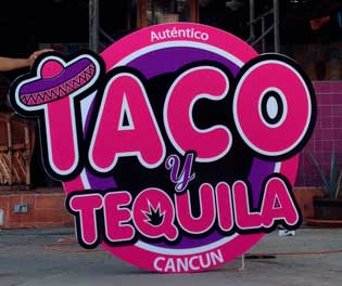 Taco Y Tequila Letrero Leds Cancun